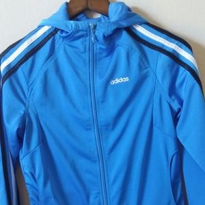Adidas Size S Women's Blue 3 Stripe Full Zip Track